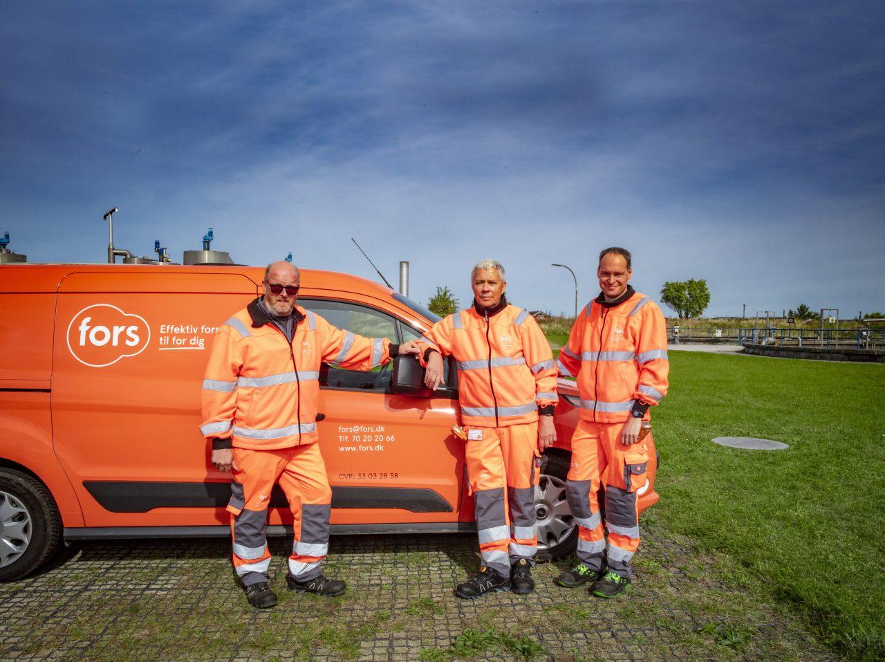 Team af spildevandsmedarbejdere